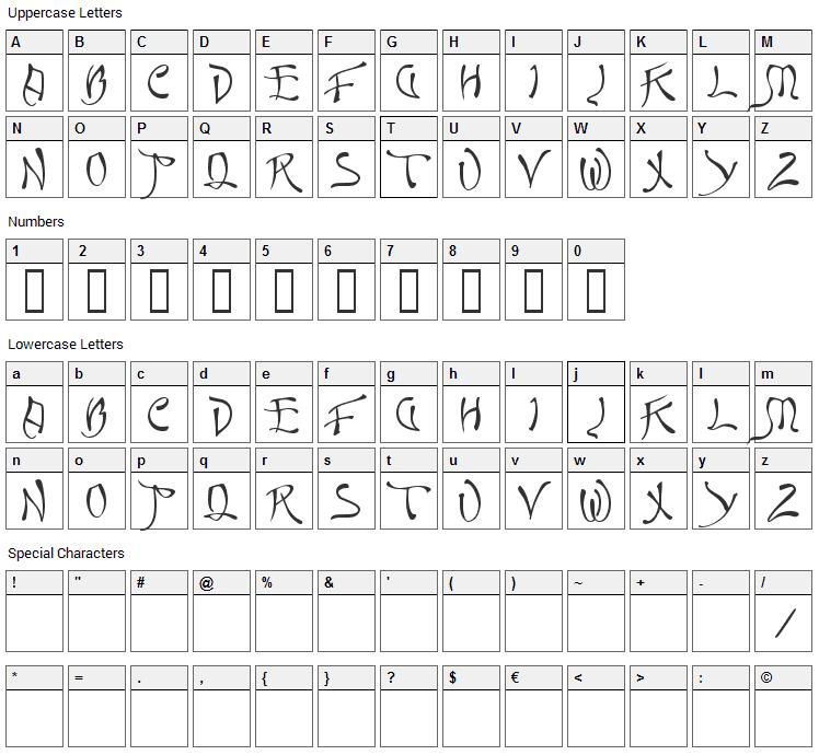 Quasi Font Character Map