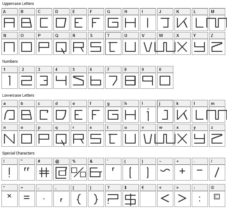 Quasitron Font Character Map