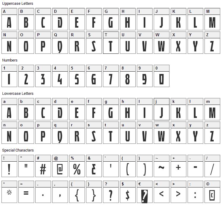 Quasix Titling Font Character Map