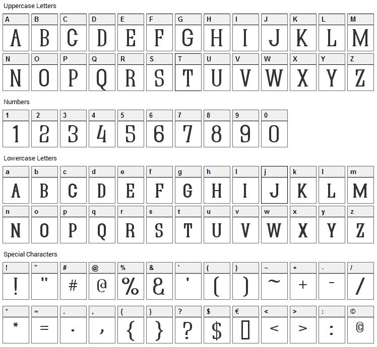 Quastic Kaps Font Character Map