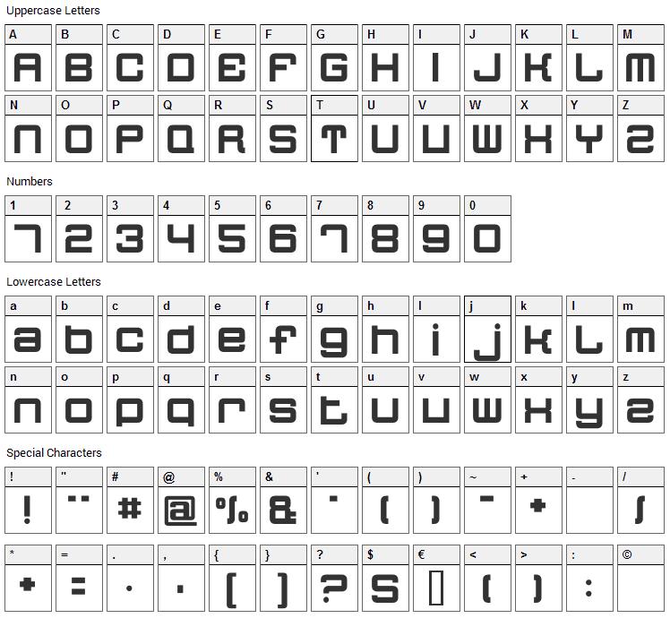 Quatron Font Character Map