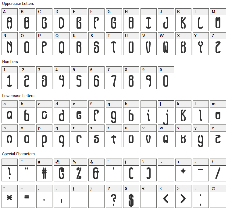 Queasy Font Character Map