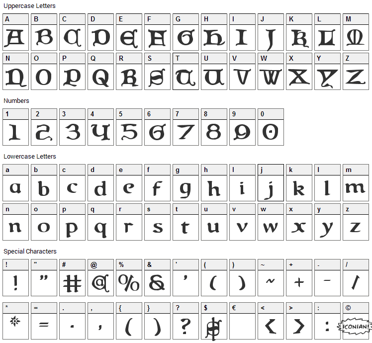Queen & Country Font Character Map