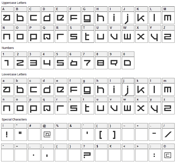 Quer Font Character Map