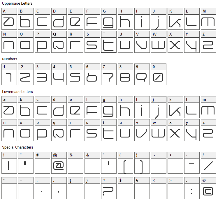 QuerRound Font Character Map