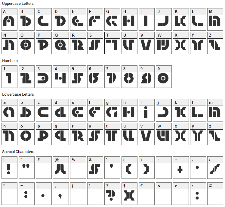 Questlok Font Character Map