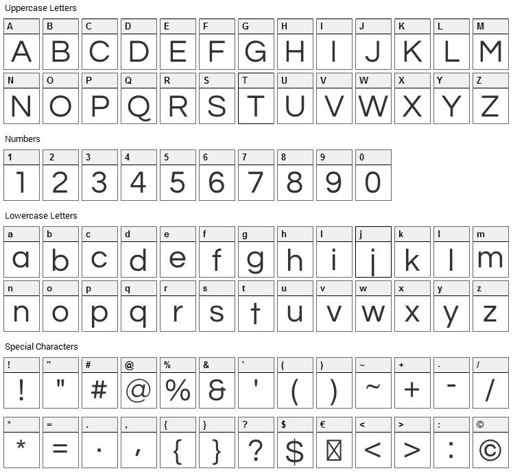 Questrial Font Character Map
