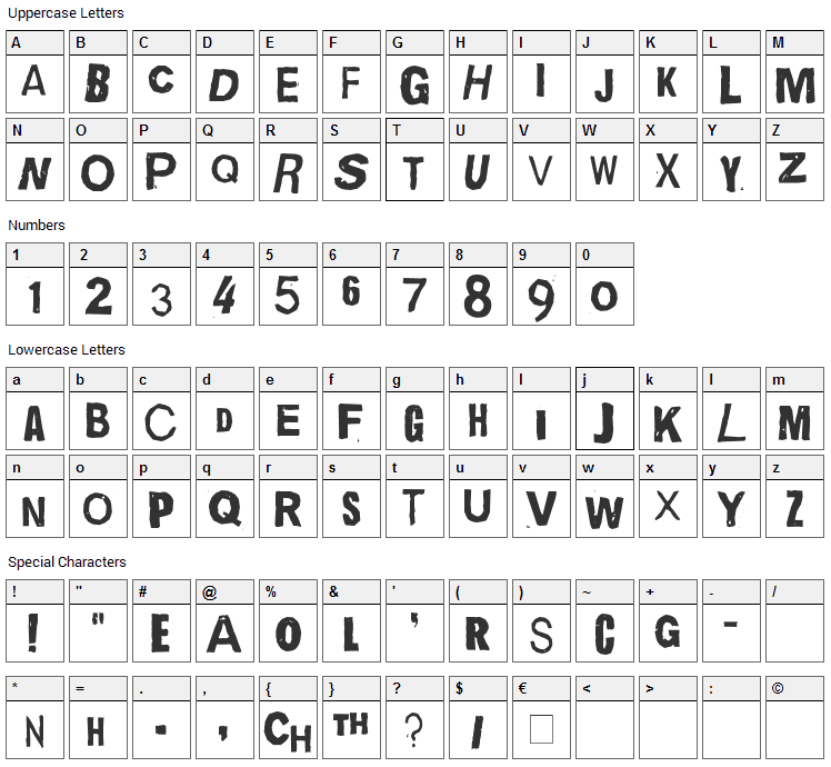 Quick End Jerk Font Character Map