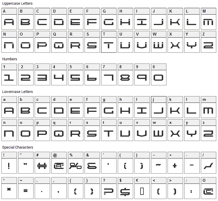 Quick Tech Font Character Map