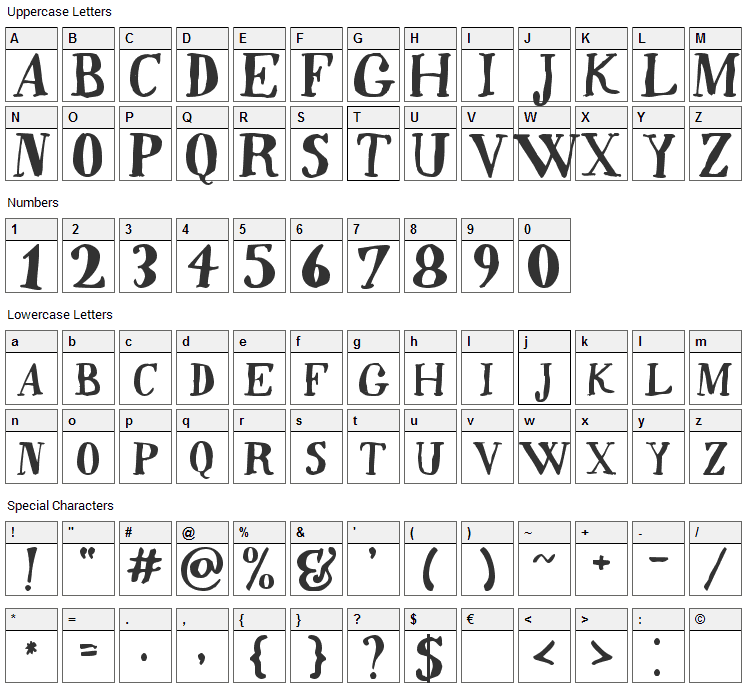 Quincy Font Character Map