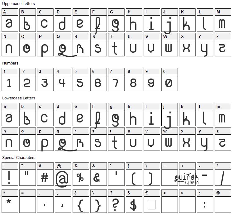 Quinok Font Character Map