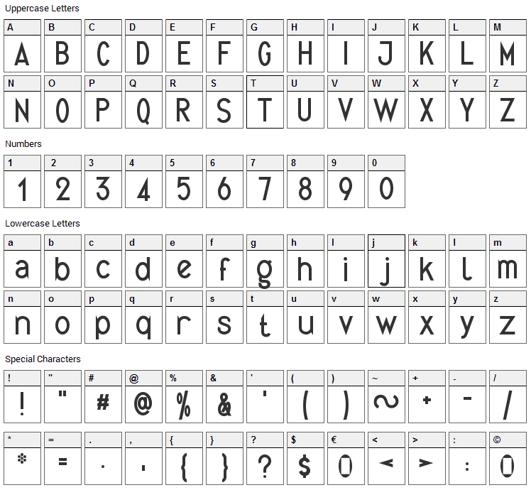 Quirkus Font Character Map