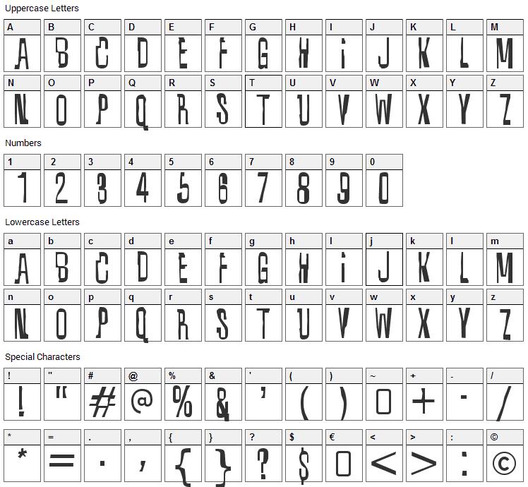 Quixotic Font Character Map