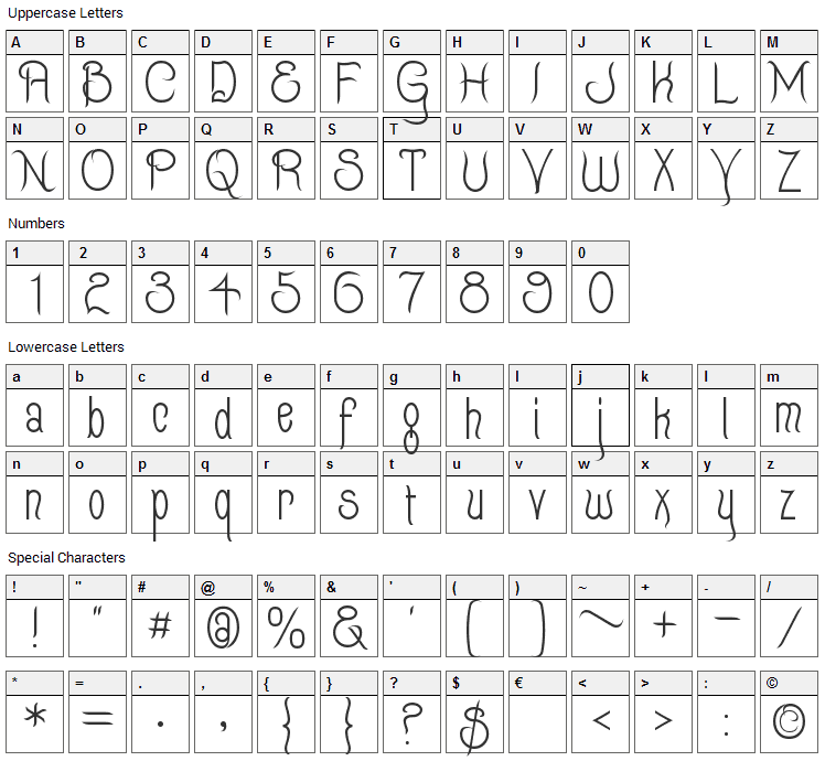 Quixotte Font Character Map