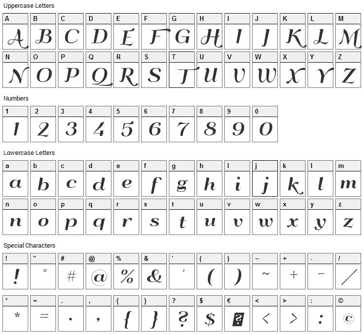 QumpellkaNo12 Font Character Map