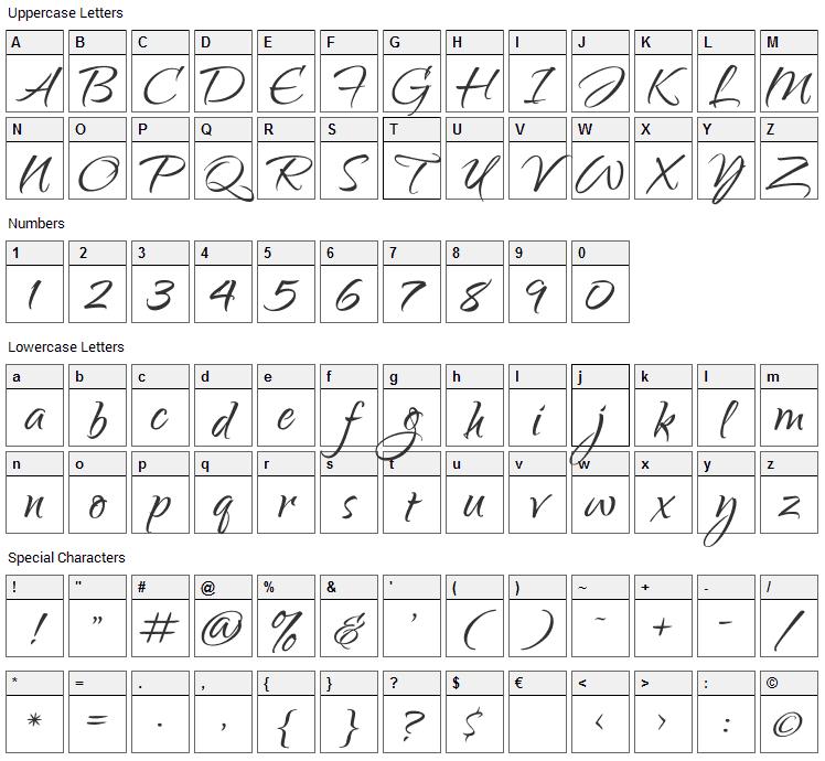 Qwigley Font Character Map