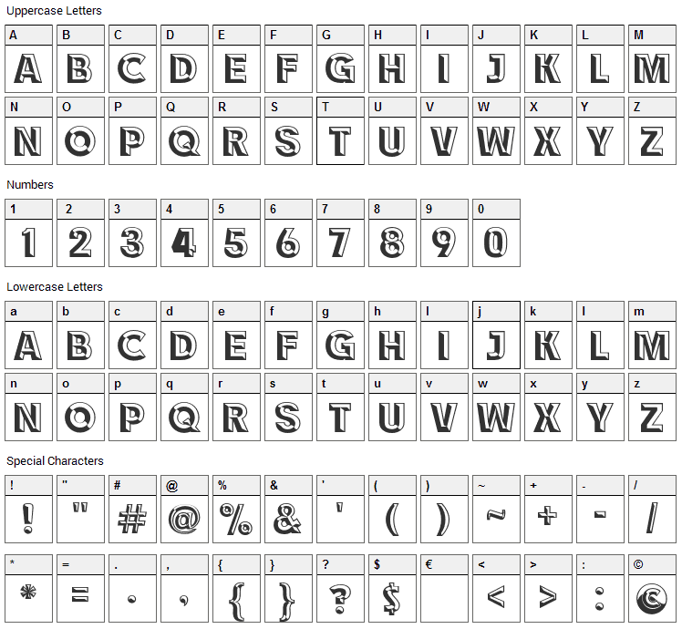 Race1 Brannt NCV Font Character Map