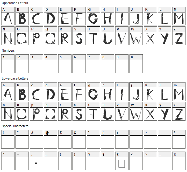 Radar.One Font Character Map