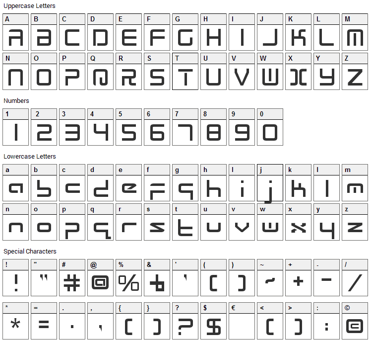 Radio Space Font Character Map