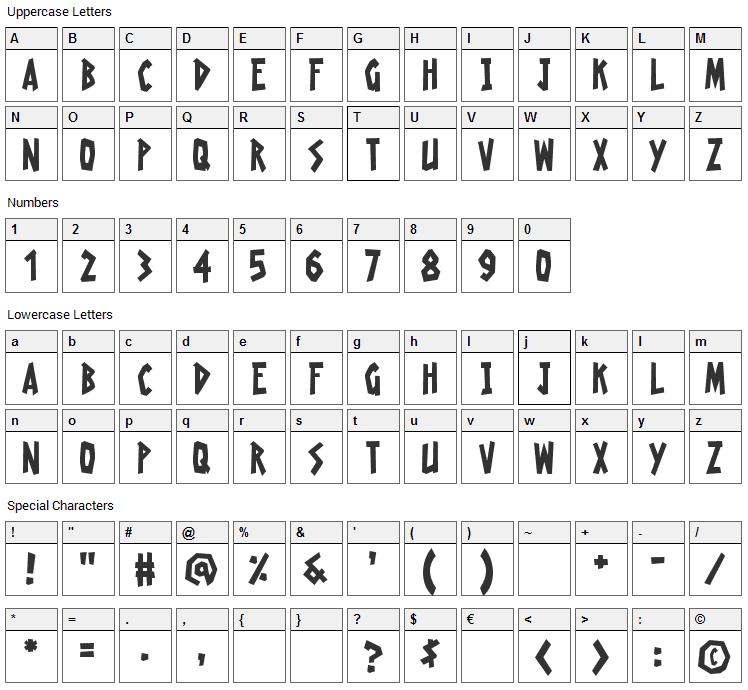 Radioactive Granny Font Character Map