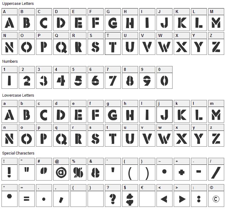Rafika Font Character Map