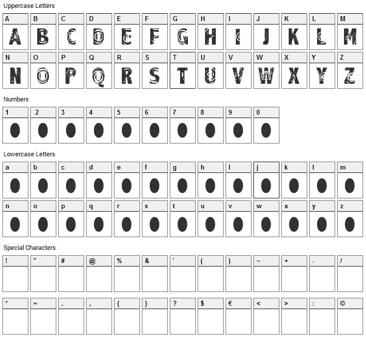 Raindrop Splash Font Character Map