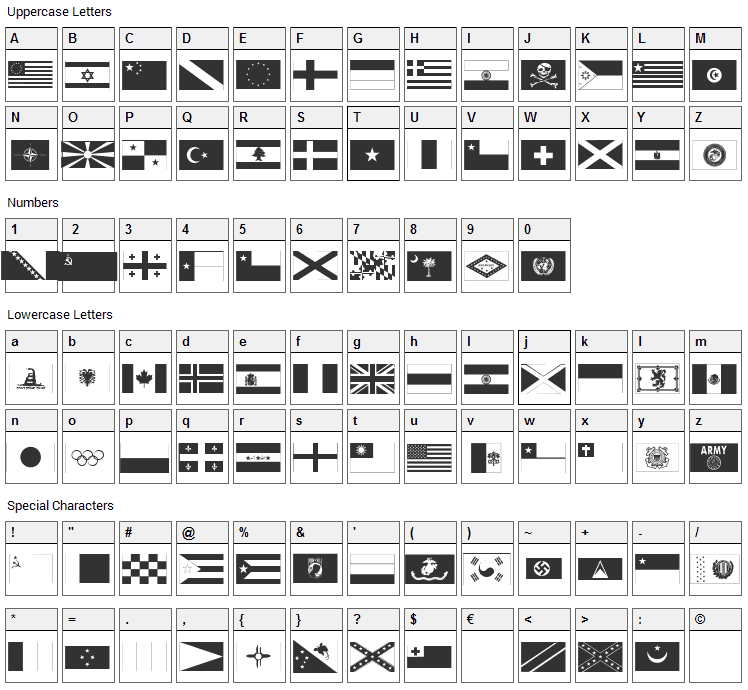 Raise Your Flag Font Character Map