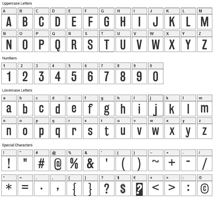 Rakesly Font Character Map