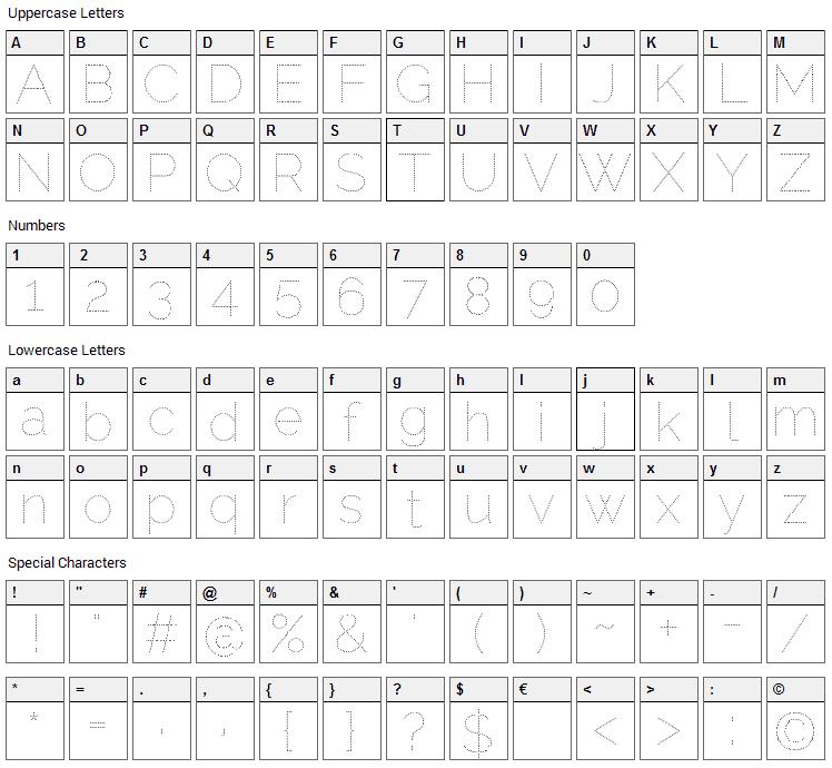 Raleway Dots Font Character Map