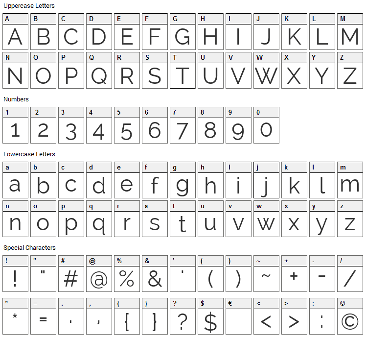 Raleway Font Character Map