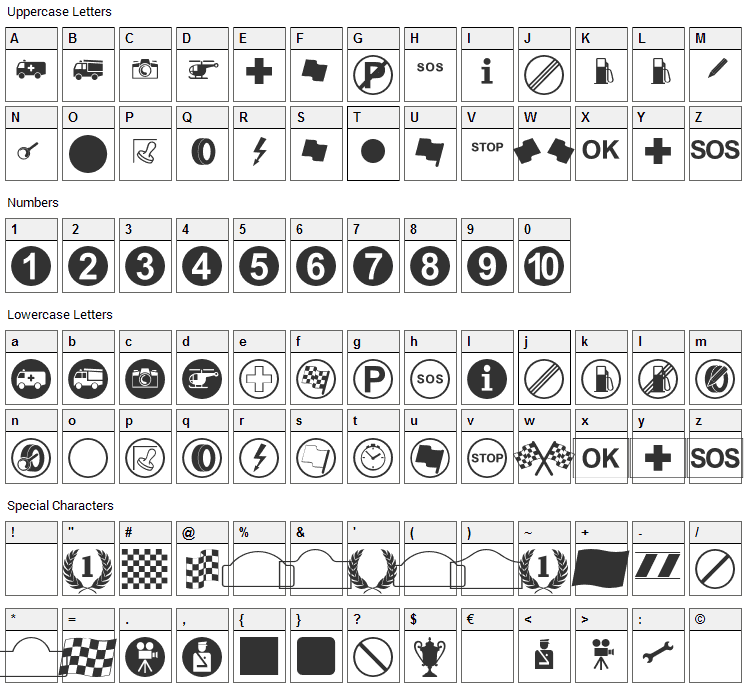 Rally Symbols Font Character Map