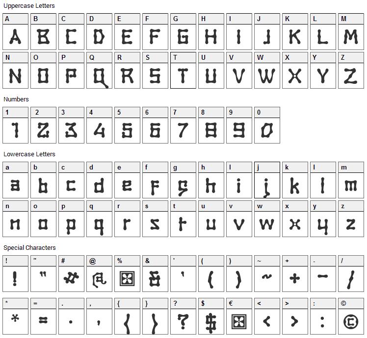 Rambat Campotype Font Character Map