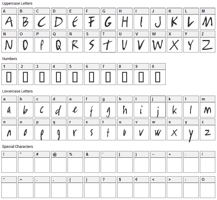 Rambo Killer Font Character Map