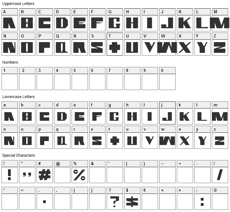Rammstein Font Character Map