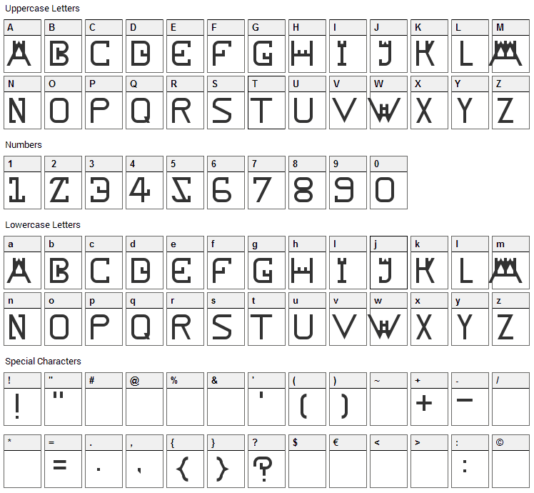 Rampart Font Character Map