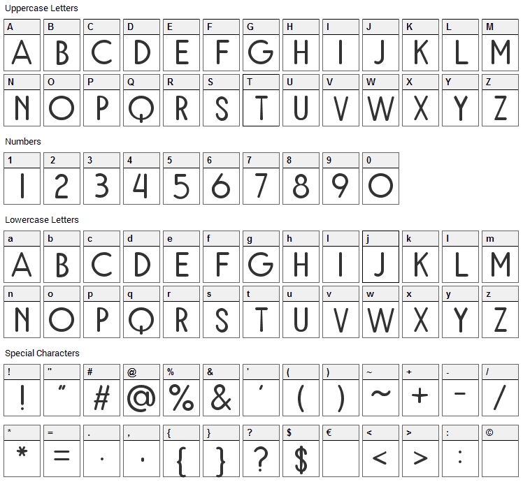 Rampung Font Character Map