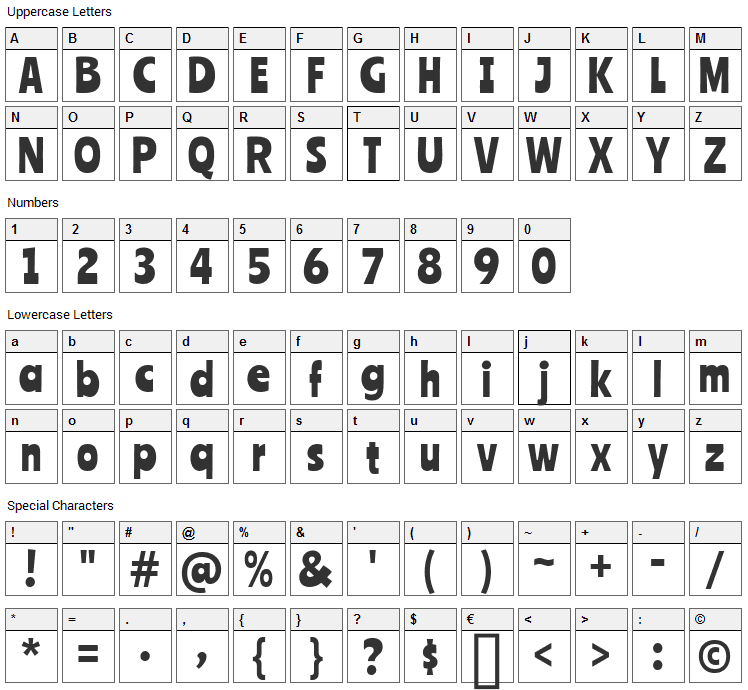 Ranchers Font Character Map