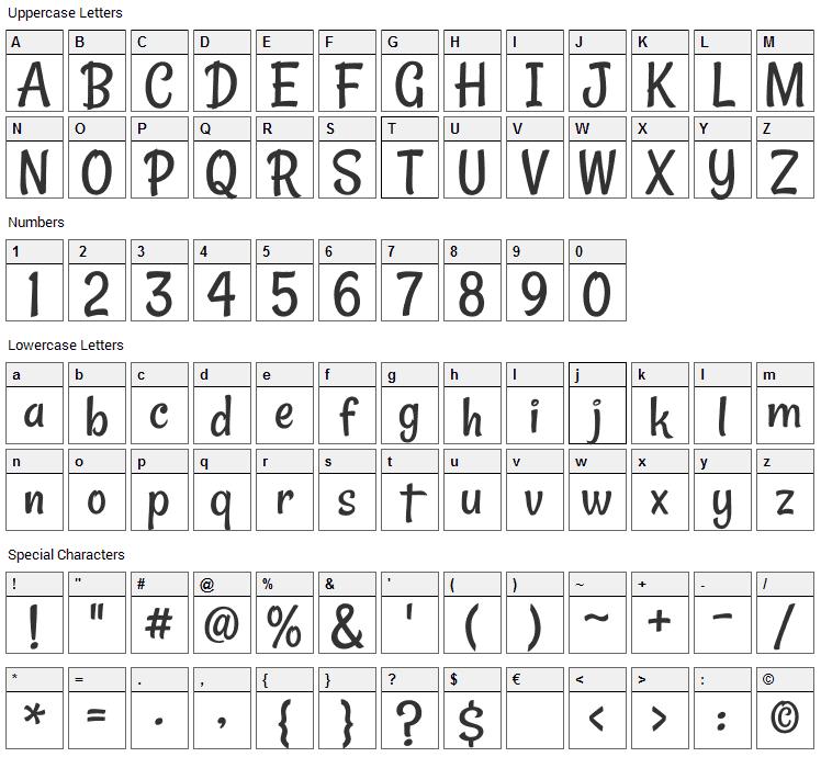 Rancho Font Character Map