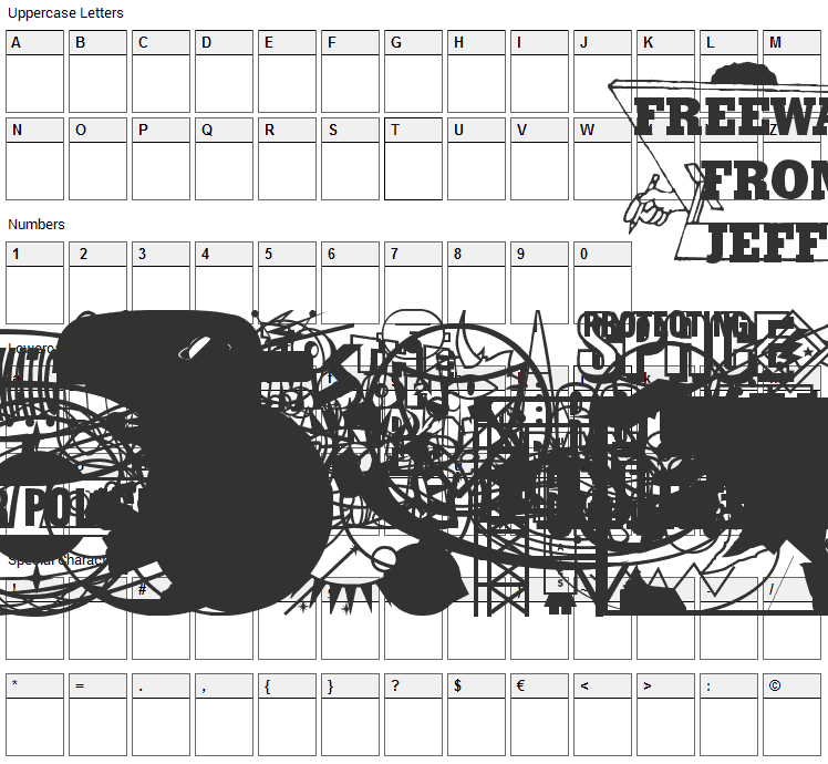 Rangers Ray Rocketeers Font Character Map