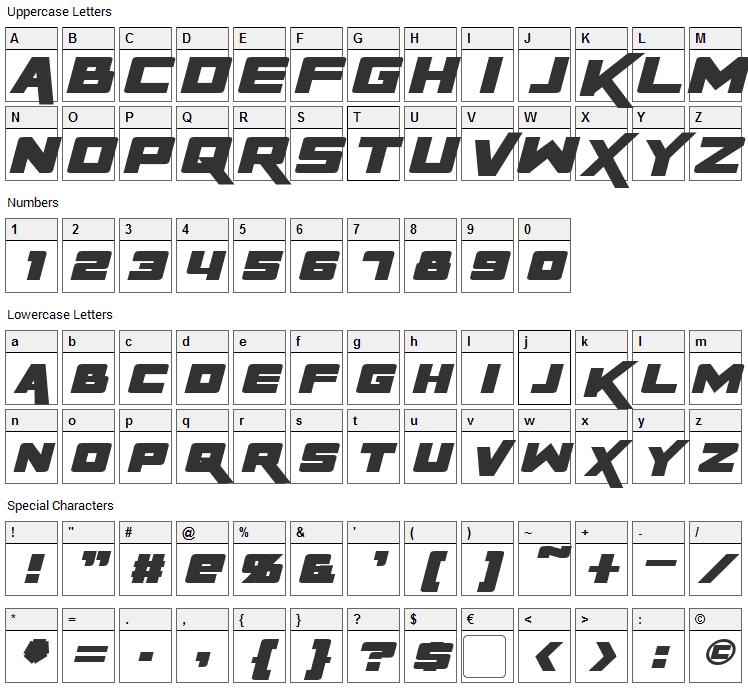 Rapier Zero Font Character Map