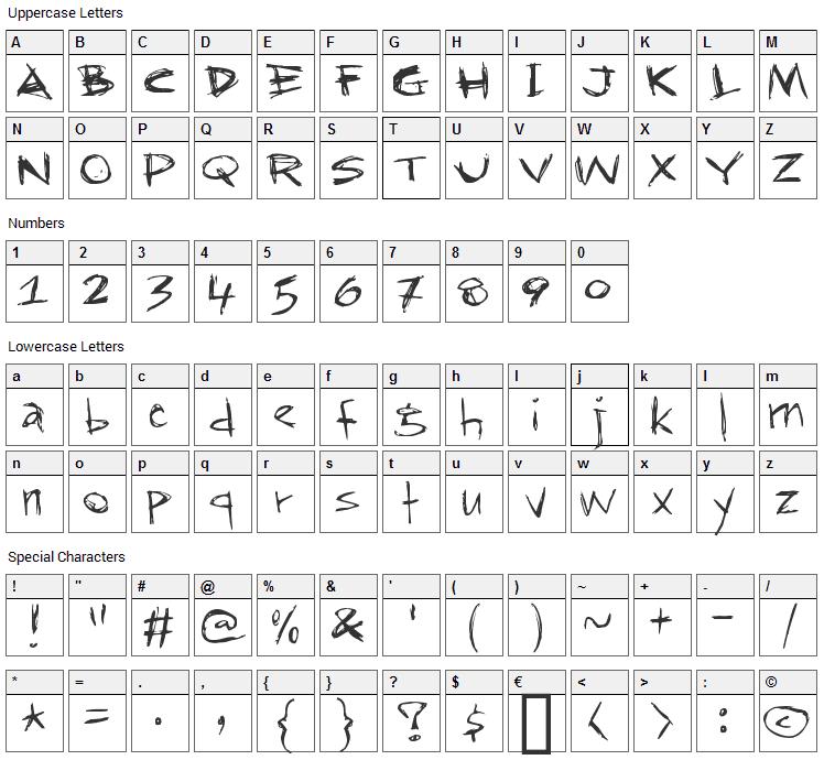 RapJack Font Character Map