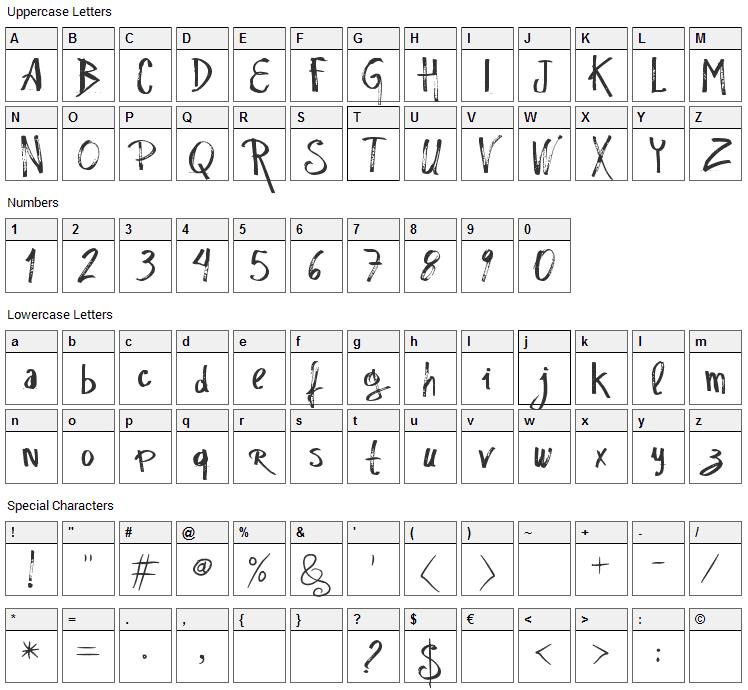 Rascunho  Errado Font Character Map