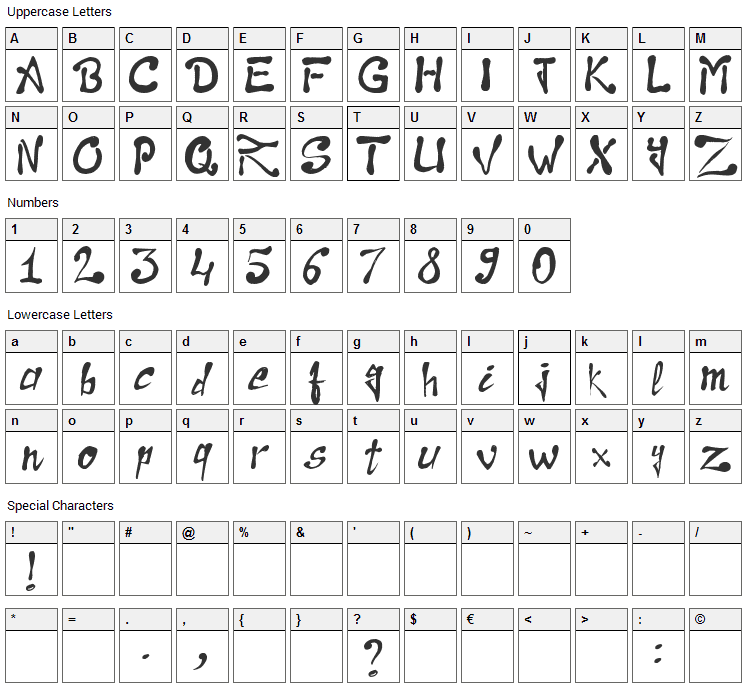 Raslani the Pharaoh Font Character Map