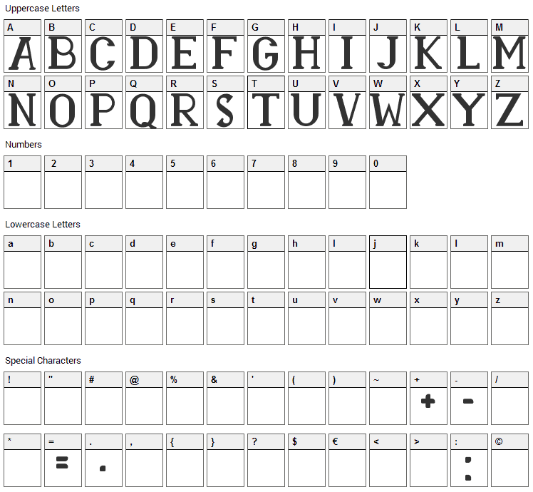 Rasmina HS 60 Font Character Map