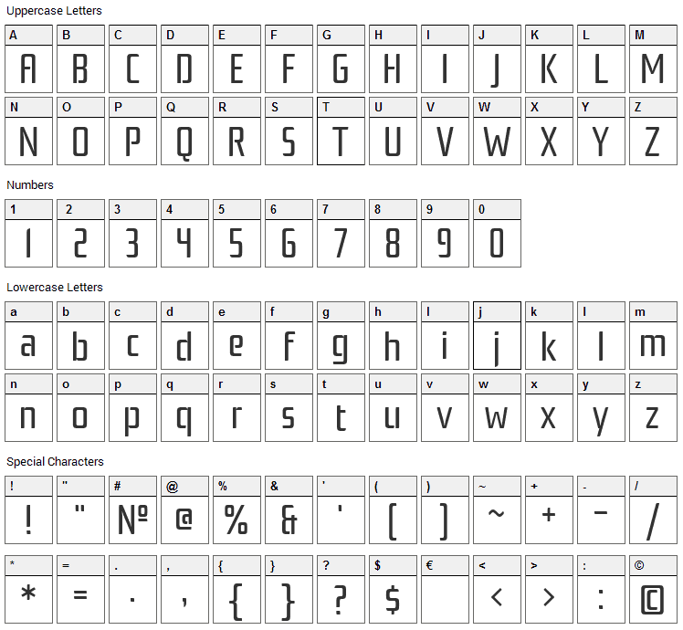 Rationale Font Character Map