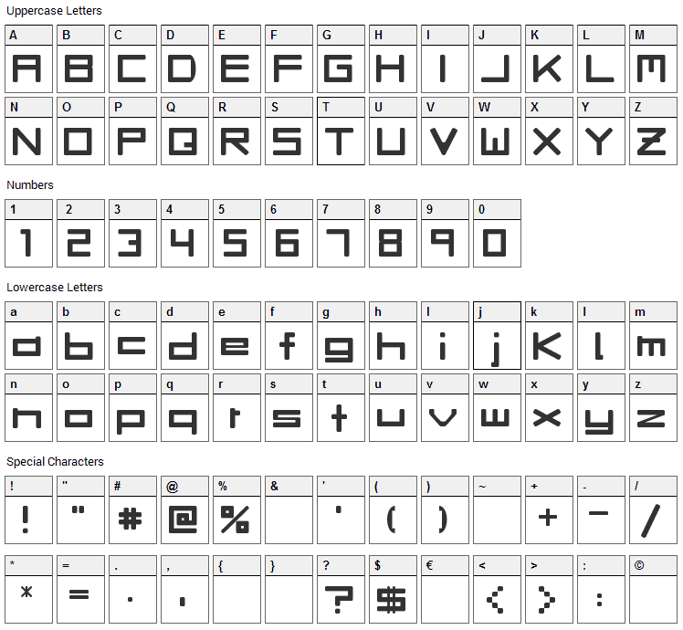 Rave Font Character Map