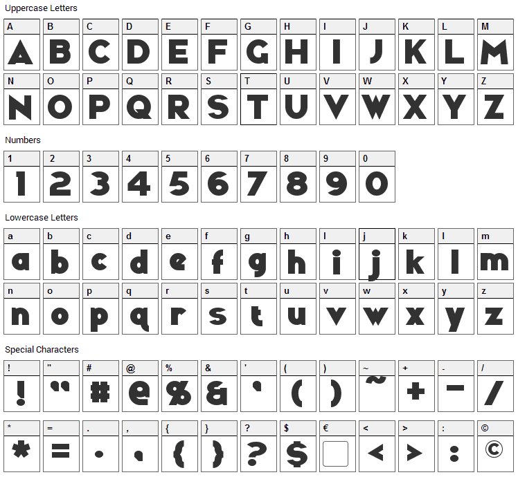 Ravenwood Font Character Map