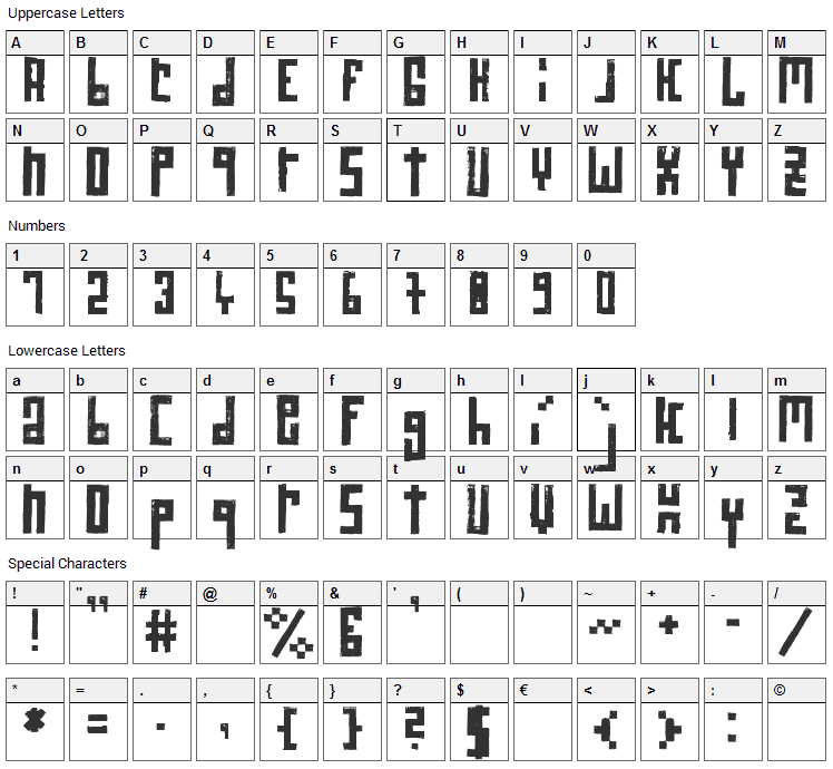 RawStreetWall Font Character Map
