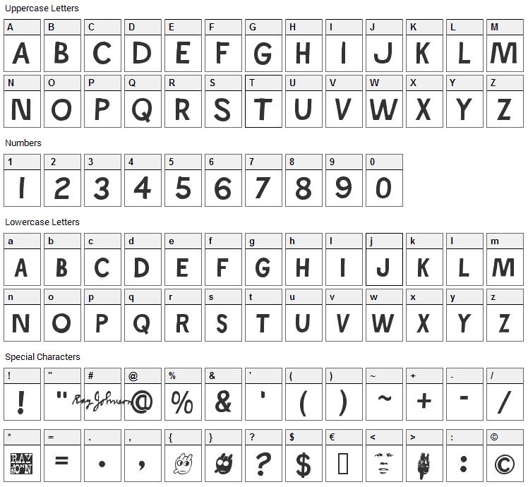 Ray Johnson Font Character Map