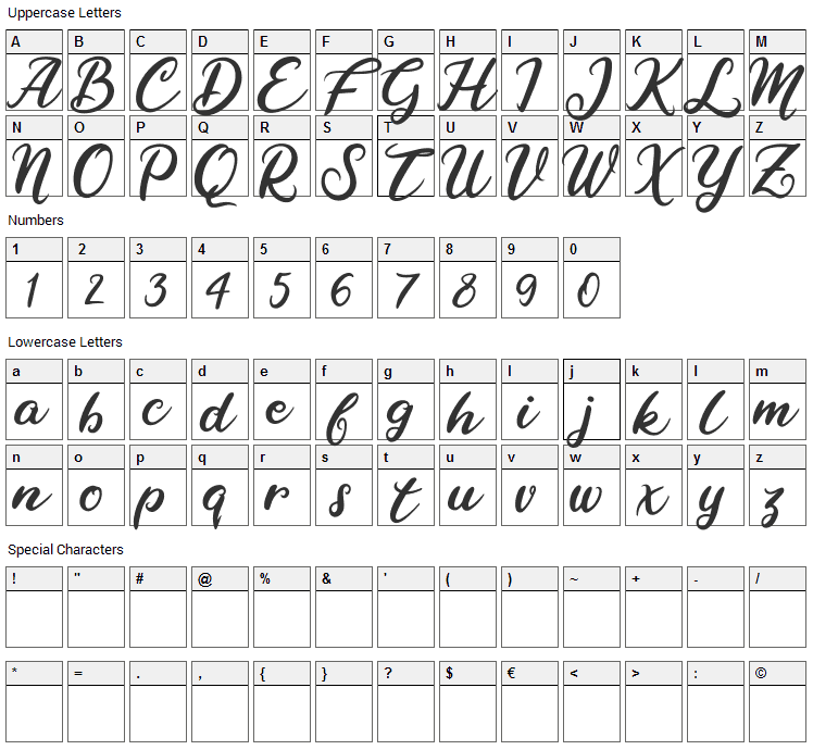 Raybent Mango Font Character Map